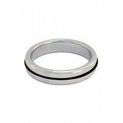 Stainless Steel Cockring with Black Band (T1415)