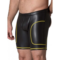 665 Leather Neoprene Open Ass Long Shorts Black/Yellow