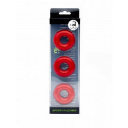 Sport Fucker Chubby Rubber 3-pc Cockring-Set Red (T4620)
