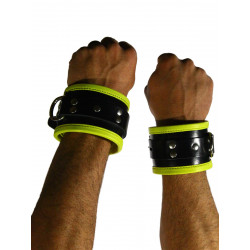 RudeRider Wrist Cuffs with Padding Leather Black/Yellow (Set of 2) One Size (T7333)