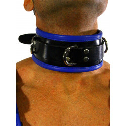 RudeRider Collar 3 D-Ring with Padding Leather Black/Blue One Size (T7342)