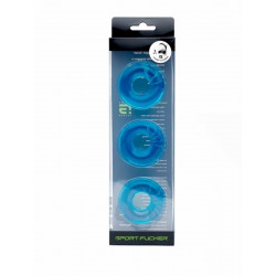 Sport Fucker Chubby Rubber 3-pc Cockring-Set Ice Blue (T4614)