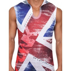 Pistol Pete UK Punk Sleeveless Hoody T-Shirt Multi